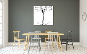 Metal print of abstract black tree on white background. Made of barbed wire.