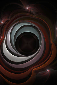 Fractal art abstract that looks like a black hole. It has muted reds and blues with a black center.