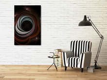 Load image into Gallery viewer, Fractal art abstract that looks like a black hole. It has muted reds and blues with a black center.