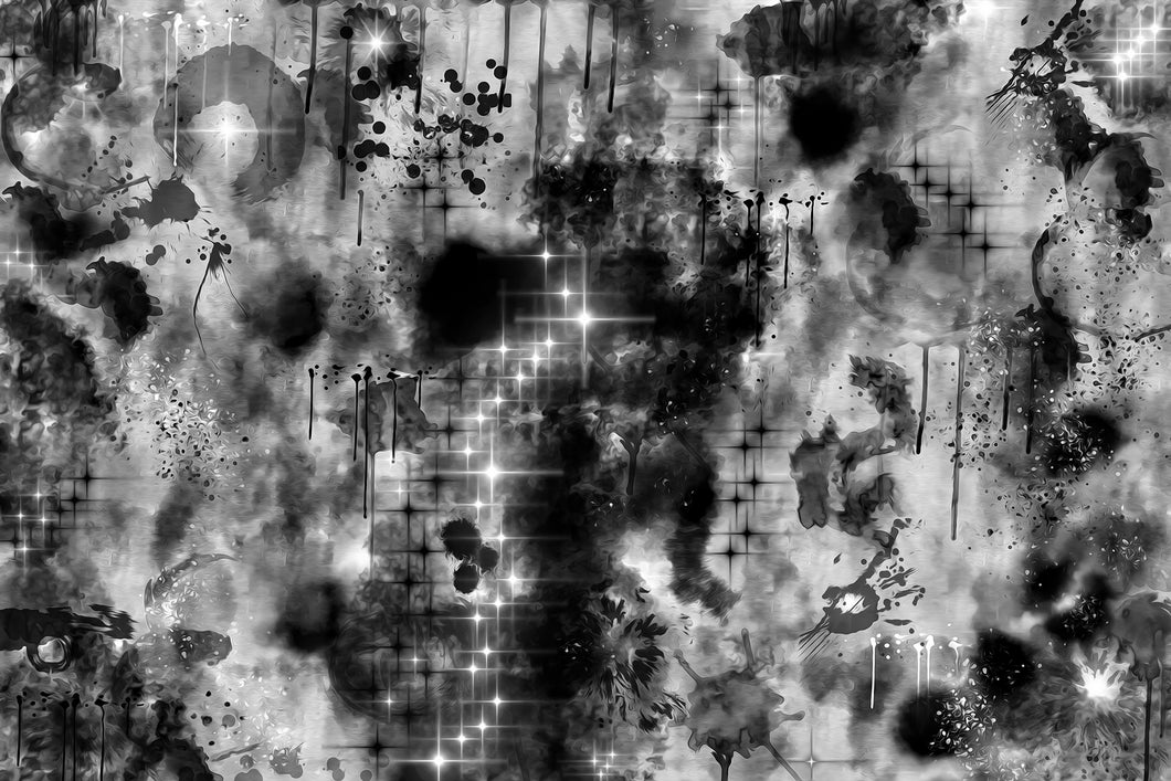 Black and white abstract. Looks like a space nebula with white stars and lots of blending black on a white background.d