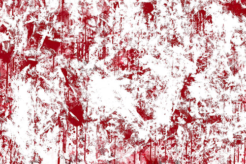 Abstract panting with red ddrips and splatter pushing through white texture.