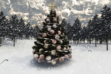 Load image into Gallery viewer, Snow covered pines and a decorated christmas tree in the snow.