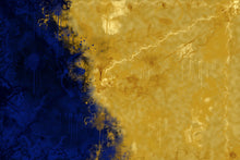 Load image into Gallery viewer, Abstract of blue and gold. Looks like sateliite imagary of a coastline.