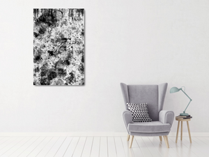 "24""x36"" metal print of black and white abstract."