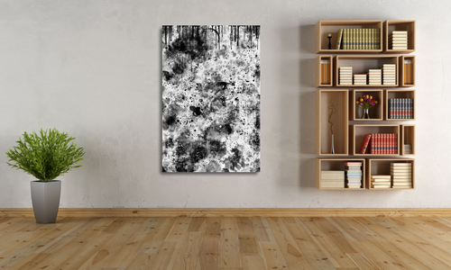 Large metal print of a black and white abstract. 40