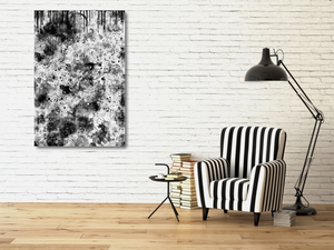 "20""x30"" metal print of black and white abstract painting."