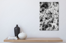 "Load image into Gallery viewer, Small metal print of black and white abstract. 12""x18"""