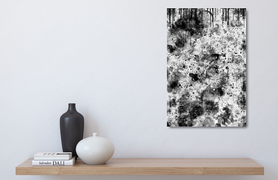 Small metal print of black and white abstract. 12