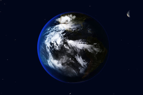 Digital art image of Earth and the moon with a few stars.
