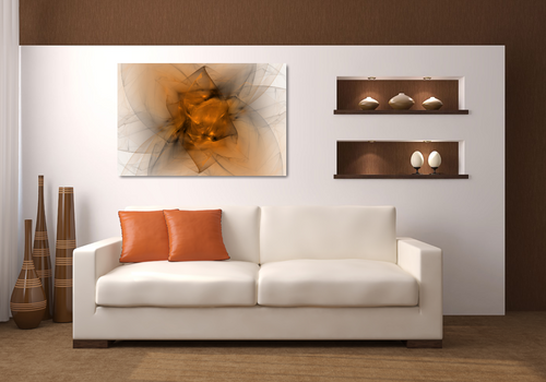 Metal print over a couch. Looks like Abstract fractal made of black and orange. Looks like a starburts, or folded fabric, or maybe a flower.