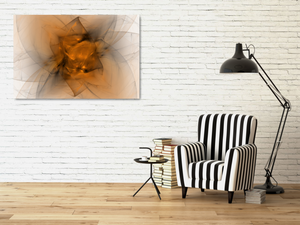 Metal print. Abstract fractal made of black and orange. Looks like a starburts, or folded fabric, or maybe a flower.