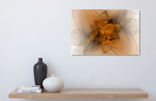 Load image into Gallery viewer, Metal print. Abstract fractal made of black and orange. Looks like a starburts, or folded fabric, or maybe a flower.