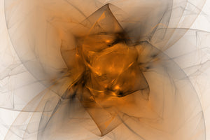 Abstract fractal made of black and orange. Looks like a starburts, or folded fabric, or maybe a flower.