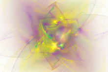 Load image into Gallery viewer, Fractal abstract of purple, green, yellow. Looks like a diamond or flower.