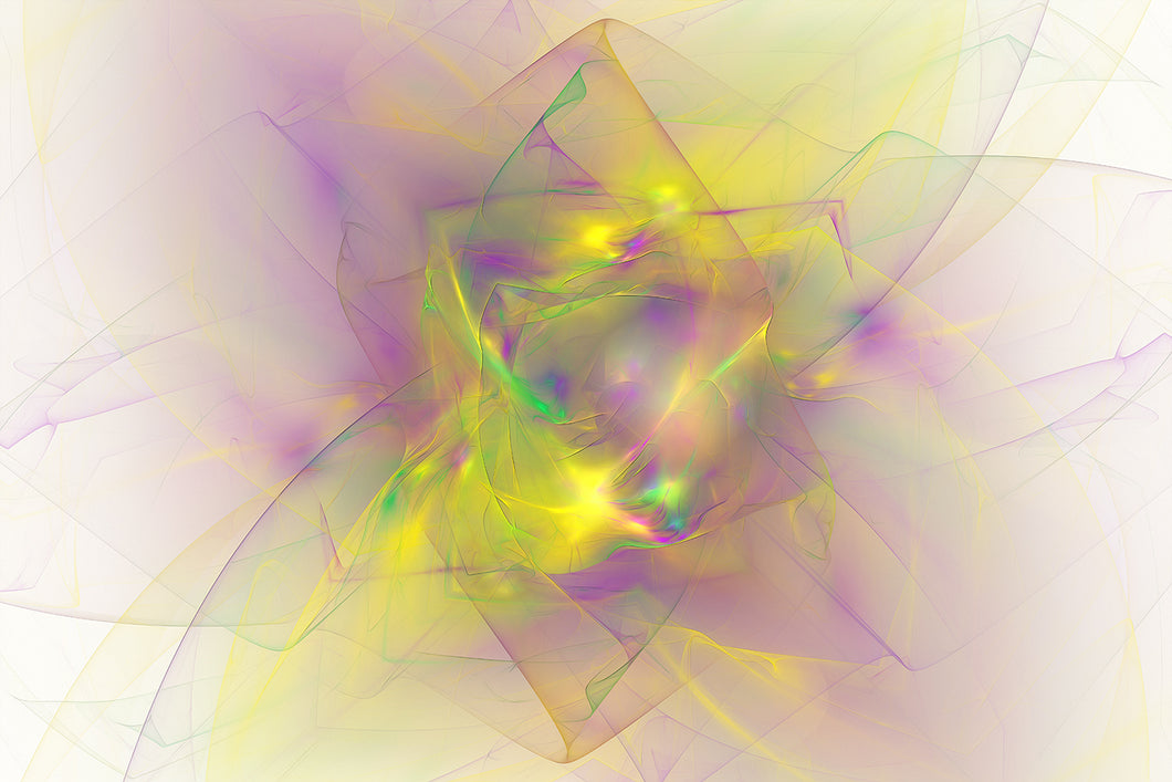 Fractal abstract of purple, green, yellow. Looks like a diamond or flower.