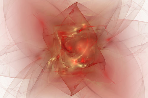 Abstract fractal with reds and golds. with a lot of energy and motion. bright points like stars.