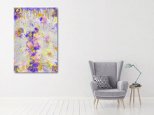 Load image into Gallery viewer, Metal print in a white room with a pale gray chair. Abstract tha tlooks like old layers of paint, with cracks. Green, silver, blue, yellow, orange, and pink.