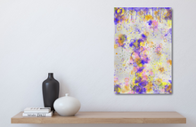 Load image into Gallery viewer, Metal print above a wood shelf. Small size. Abstract tha tlooks like old layers of paint, with cracks. Green, silver, blue, yellow, orange, and pink.