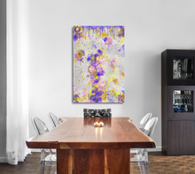 Load image into Gallery viewer, Metal print in a dining room. Abstract tha tlooks like old layers of paint, with cracks. Green, silver, blue, yellow, orange, and pink.