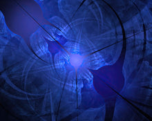 Load image into Gallery viewer, A fractal art piece in blue. Looks like a bio hazard symbol radiating from the center.