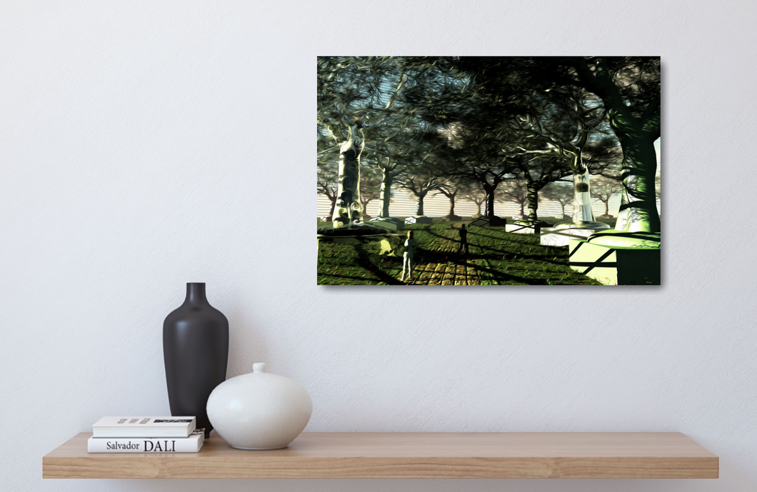 Metal print of a surreal piece. trees made of metal, glass, copper, rocks, marble. Under a metal and glass dome with a grassy path. Like they're objects in a museum for people to look at.