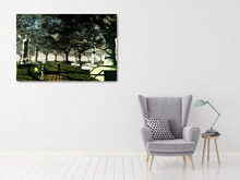Load image into Gallery viewer, Metal print of a surreal piece. trees made of metal, glass, copper, rocks, marble. Under a metal and glass dome with a grassy path. Like they're objects in a museum for people to look at.