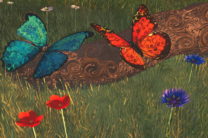 A blue butterfly and monarch butterfly sitting on a log, with flowers around them.
