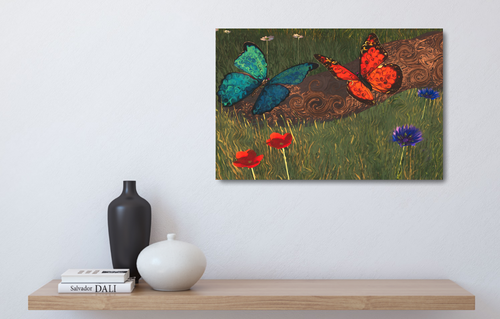 Metal print over a wood shelf. Image is two butterflies on a log. A blue one and monach one. Surrounded by flowers.