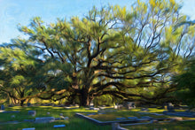 Load image into Gallery viewer, Digital art of an old live oak in a cemetery.