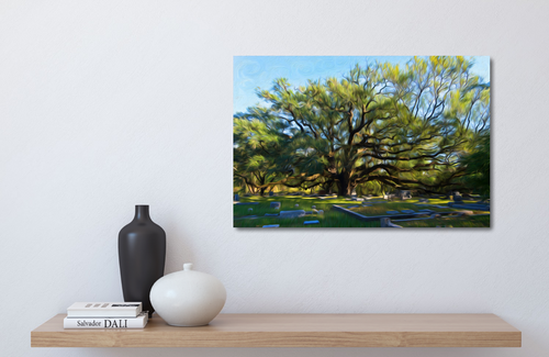 metal print of an old live oak in a cemetery.