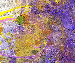 Close up of abstract painting. Thick layers of green, pink, yellow, blue, and orange.
