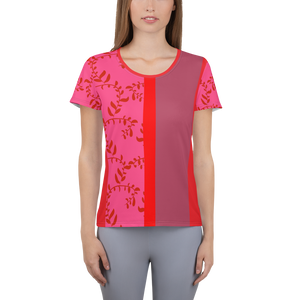 Red and Mauve Women's Athletic T-shirt
