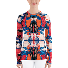 Load image into Gallery viewer, Blue, Red and Orange Women's Rash Guard