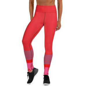 Vibrant Mauve and Red Leggings