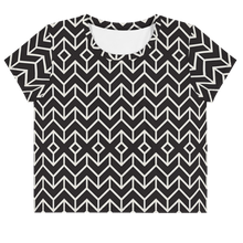 Load image into Gallery viewer, Black and White  Cross Crop Tee