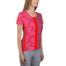 Load image into Gallery viewer, Red and Mauve Women's Athletic T-shirt
