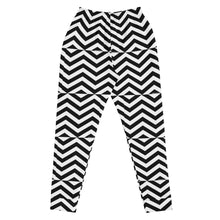 Load image into Gallery viewer, Black and White Zig Zag Women's Joggers