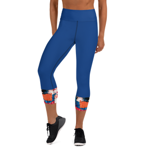Blue, Red and Orange Capri Leggings