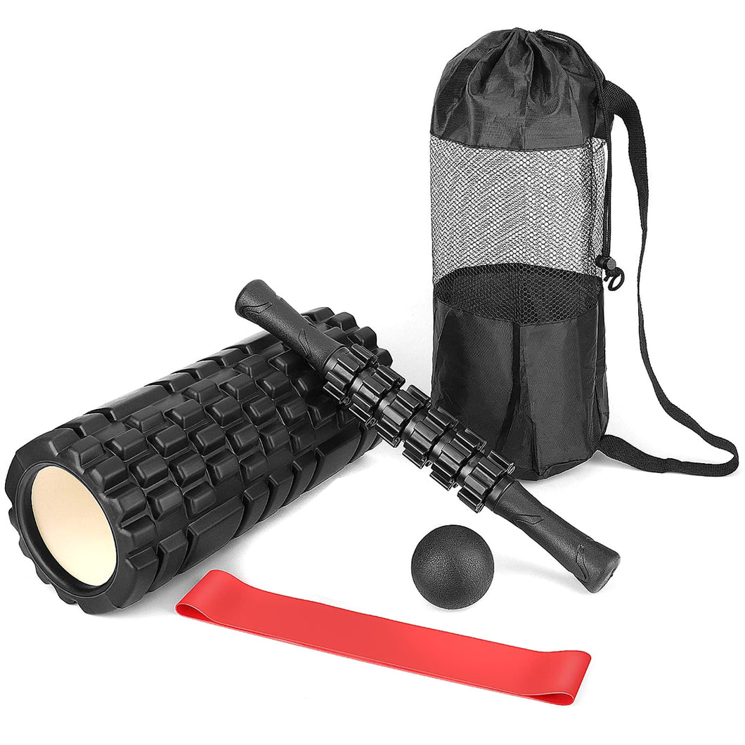 Foam Roller Massager Stick  Ball / Resistance Loop w/ Carry Bag/ Yoga Pilates