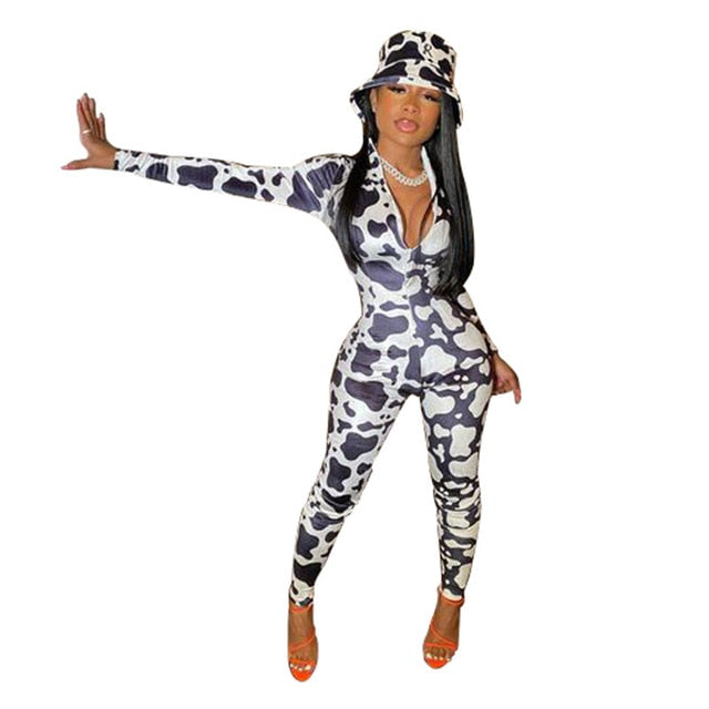 Jumpsuits Spandex Long Sleeve Bodycon Rompers One Piece Print