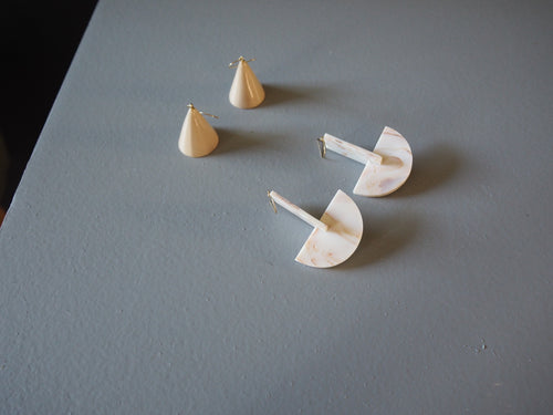 Porcelain Cone & Composition Ver.2 Earrings