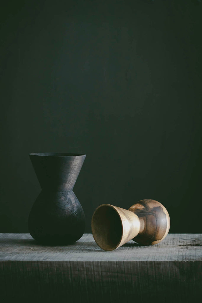Funnel Neck Vase - Ebonised chestnut