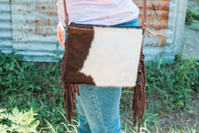 Load image into Gallery viewer, Brown & White Smaller Cowhide Bag