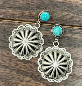 Turquoise Concho Earrings ⚡️