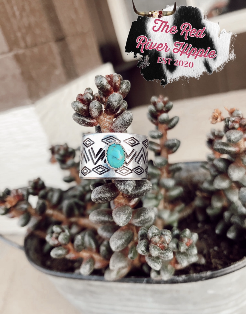 Turquoise Hand Stamped rings✨