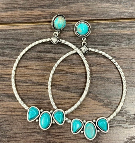 Turquoise Stone Hoop Earrings ⚡️
