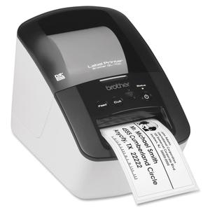 "Brother QL-700 Direct Thermal Printer - Monochrome - White - Desktop - Label Print - 2.30"" Print Width - 150 mm/s Mono - 300 x 600 dpi - Die-cut Label, Continuous Label - 2.40"" (60.96 mm) Label Width - 36"" (914.40 mm) Label Length"