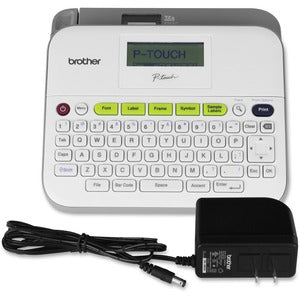 "Brother PT-D400AD Desktop Labelmaker - Thermal Transfer - 14 Fonts - 10 Text Style - 180 dpi - Label, Tape - 0.14"" (3.50 mm), 0.24"" (6 mm), 0.35"" (9 mm), 0.47"" (12 mm), 0.71"" (18 mm) - Power Adapter, Battery - 6 Batteries Supported - AA - White, Light Gray - Desktop - PC - QWERTY, Manual Cutter, Print Preview, Auto Power Off, Label Length Setting, Horizontal Alignment, Vertical Printing, Mirror Printing, Barcode Printing - for Home, Office"