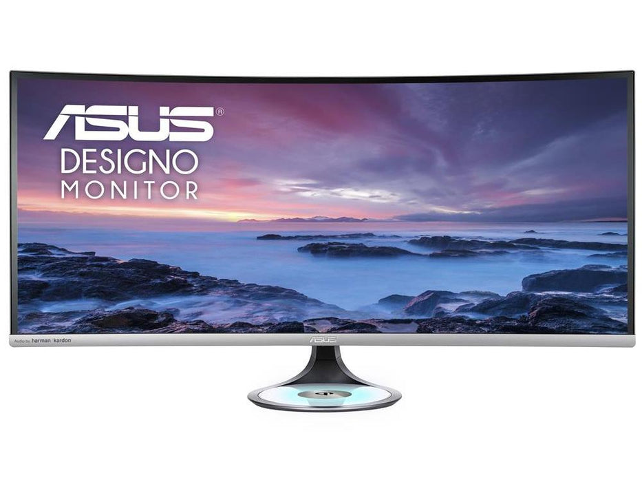 ASUS Designo Curve MX38VC 37.5in Monitor, WLED / IPS, 3840x1600, Non-Glare, 0.229 mm, 300 cd/m2, 1, 000:1, 178(H)/178(V), 1.07B Color, 5ms (Gray to Gray), USB 3.0 x 2 (Support BC1.2), HDMI, 3.5 mm Mini-jack, DP 1.2 x1, HDMI 2.0 x2, 3 Year Warranty