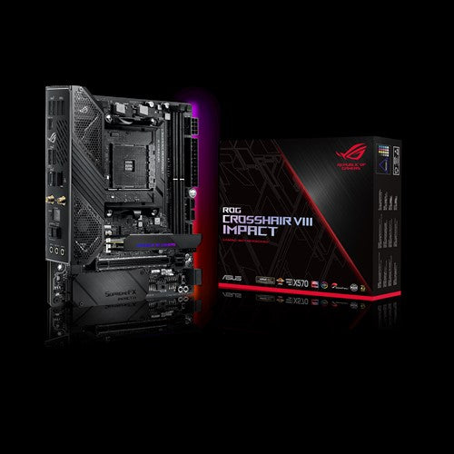 ASUS ROG (X570)  Crosshair VIII Impact, AMD,AM4, Ryzen 3000,  (Mini-DTX) SFF gaming motherboard with PCIe 4.0, on-board WiFi 6 (802.11ax), Intel LAN, SATA 6Gb/s, USB 3.2 Gen 2, SO-DIMM.2 and Aura Sync RGB lighting,3 Years